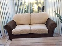 Rattan conservatory furniture two seater settee and chair