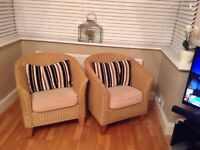 Pair of small wicker armchairs
