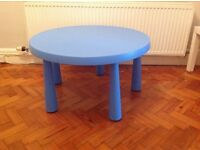 Blue IKEA children's play table.