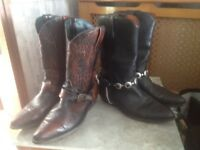 TWO PAIRS OF COWBOY BOOTS SIZE 10