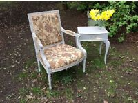French Louis style easy arm chair painted plus side occasional table.