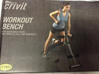 New sealed folding workout bench and resistance bands