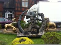 LARGE WARRIOR FIGHTING DRAGON SCULPTURE LIFE SIZE