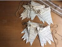 2 sets of hand made music paper bunting