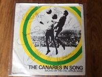 The Canaries in song Single signed by the Division 2 Winning Team 1972