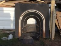 Black and silver old style fire place
