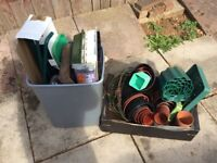 Various gardening items including a pop up greenhouse