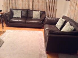 Marks and Spencer Barletta brown leather sofas. One large and one medium sofa, good condition.