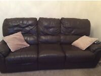 Brown Leather 3 seater & 2 seater sofas good condition