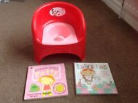 Immaculate red & pink Minnie Mouse potty chair (Mothercare) & 2 potty training books