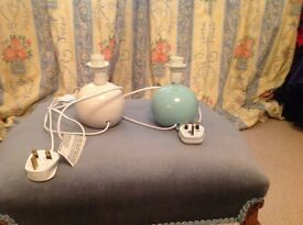 """Two small bedside lampstands - One cream, the other pale blue - 16cm/6.5"""" high"""