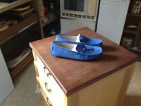 Brand new men's driving shoes. Blue suede. Very small size 10. From smoke and pet free home.
