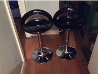 Pair of Designer black gloss and chrome bar stools .new