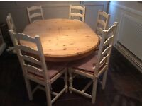 Cotswold pine and cream oval table with 6 ladder back chairs and complimentary sideboard