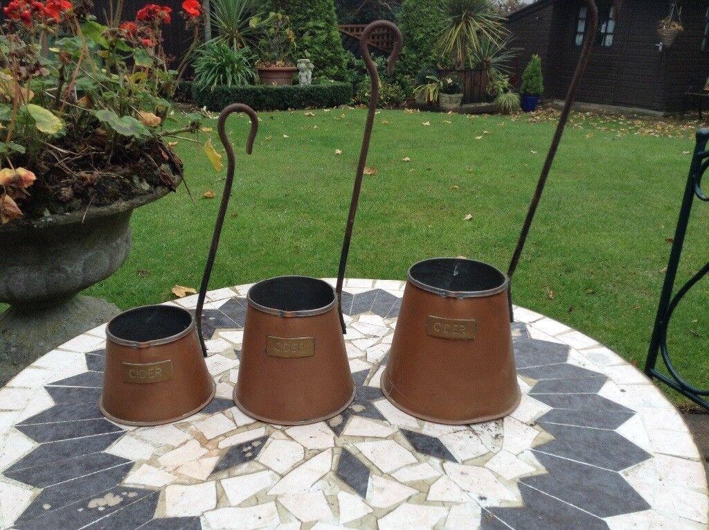 Set of 3 Copper Cider Jugs
