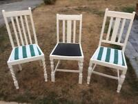 Hand painted oak dining chairs