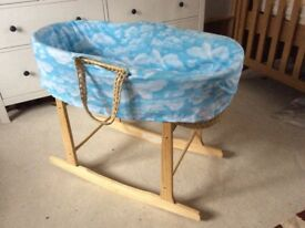 Traditional Moses basket and 'Clair de Lune' pine rocking stand