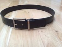 BRAND NEW Genune Mens Guess Brand Black Leather Belt (Large - Fits 36 Inch Waist)