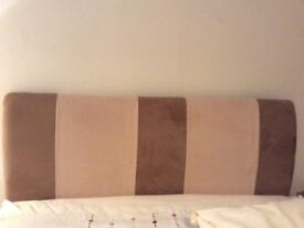 Excellent condition Suede Cream & Brown deep padded double headboard