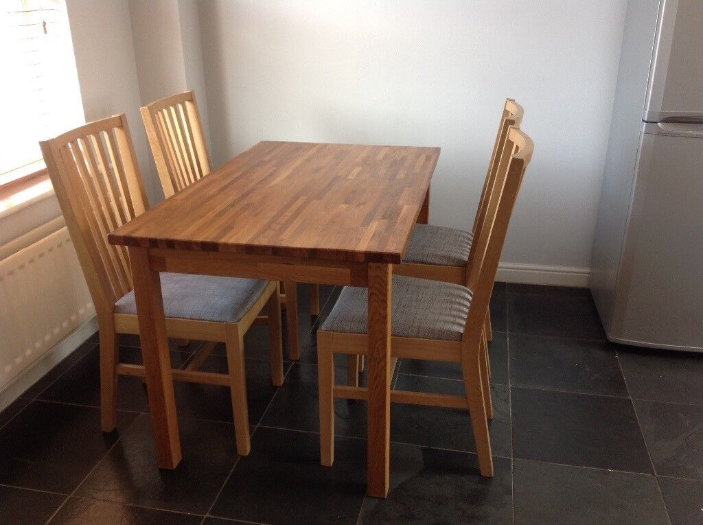Ikea Ekensberg Solid Oak Table With 4 Borje Chairs