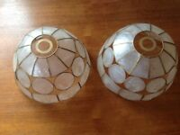 Pair of capiz shell lampshades