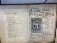 Signed Ella Retford music sheet framed circa 1906