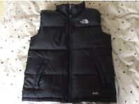 North face black feather filled gilet, boys size Age 14/16, v small fitting