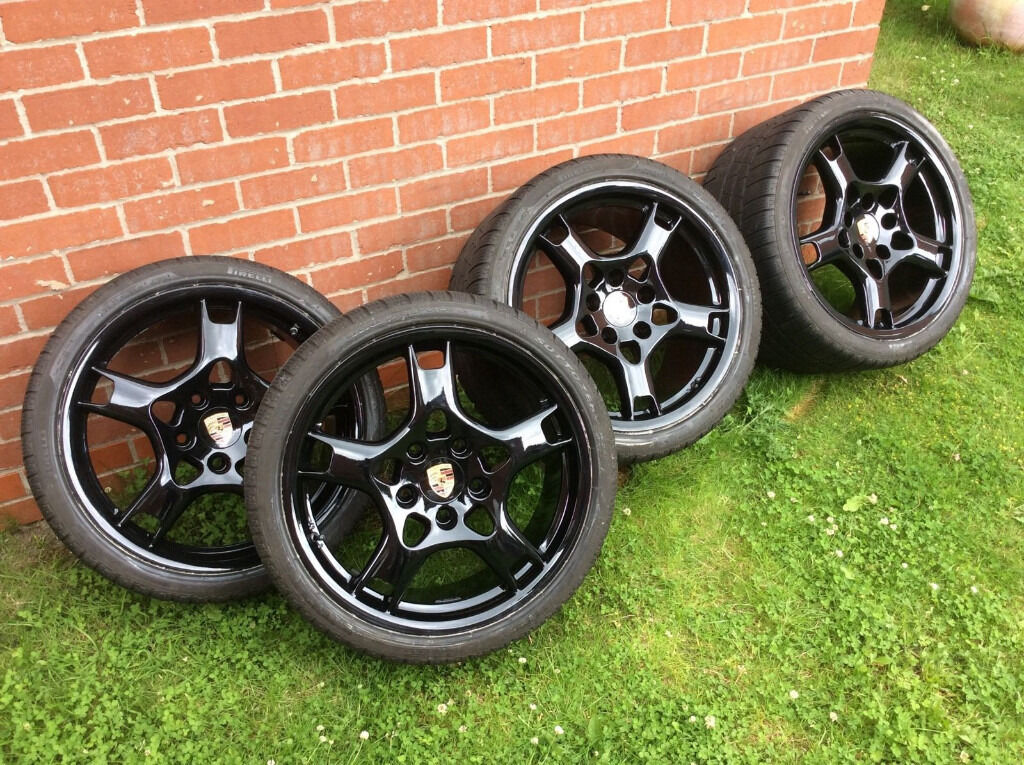 "Z Rated Tires >> Genuine Porsche 911 (997) Lobster Claw 19"" Alloys x 4 Gloss Black Winter Tyres 