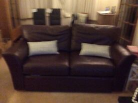 Leather 2 seater sofa, brown, very comfy and in good condition