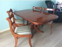 Yew oval table and 4 chairs