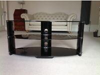 TV stand/unit - black polished glass