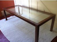 Extra Long Wood & Glass Coffee Table