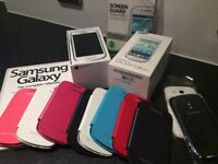 As new Samsung Galaxy S3 Mini - White. Immaculate. Comes with 8 coloured covers and more