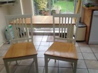 Solid wood table with 4 chairs (beech wood colour seat and painted cream legs/backs)