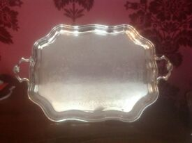 Silver Plated Tray, 2 Handled, Floral engraved design, Stamped Made in England, Vintage