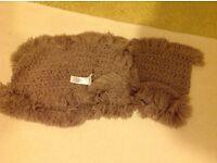 """Beige """"circular""""scarf with tassels"""