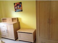 Double wardrobe with drawer, dresser with 3 drawers and cupboard, toy box and shelf