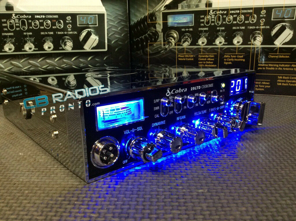 Cobra 29 LTD Chrome CB Radio - BLUE NITRO LED LIGHT RINGS +