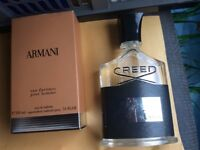 Bottle of Creed After shave , Bottle of Armani after shave