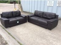 Brown Leather 3 & 2 Seat Sofa with Chrome Feet - £499 Including Free Local Delivery