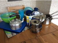Assorted camping equipment, sold as lot or individually.