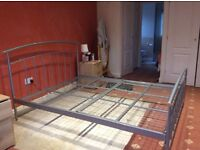 King size metal bed and 4 under bed storage units