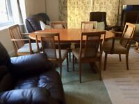 Retro GPlan Fresco Teak Dining Table & 6 Cane Back Chairs, Quality Vintage Set, Very Good Condition