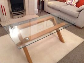 Coffee table oak base glass top