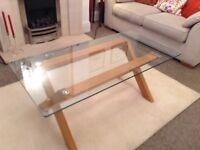 Coffee table oak base glass top