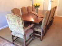 Oak dining table and 10 chairs
