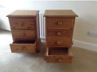Bedside cabinets 1x3 drawer and 1x4 drawer