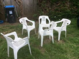Garden chairs set of 5 white , they can stack up together great for BBQ