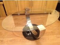 Glass coffee Oval table & round lamp table/small coffee table