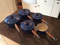 Blue Le Creuset pan set for sale